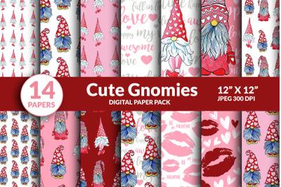 Valentine Gnome Digital Paper Seamless Pattern. Love Hearts, Cute Gnom