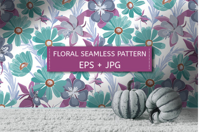 Turquoise and purple flowers. Seamless pattern.