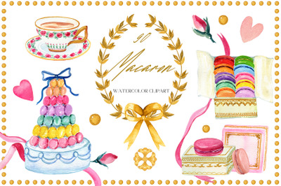 Macaron. Pastry Watercolor Clipart