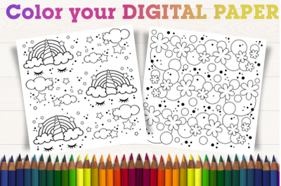 Color your digital paper. Rainbow and nature.
