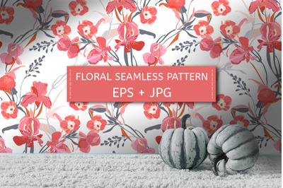 Pink ipomoea, peony, iris flowers. Pattern.