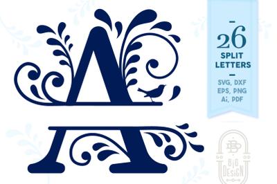Split Monogram Alphabet with Flourishes - Letters SVG