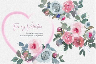 For My Valentine Watercolor Floral Clipart Bouquets PNG