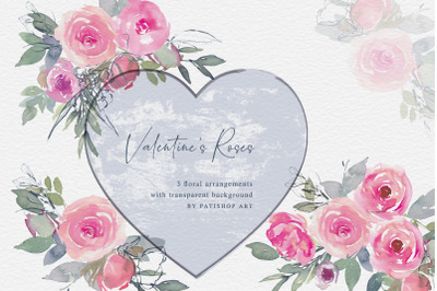 Valentine's Roses Watercolor Floral Clipart Bouquets PNG