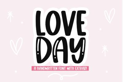 Love Day - Handwritten Font with Valentine's Doodles