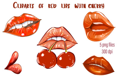 Cliparts of red lips with cherry