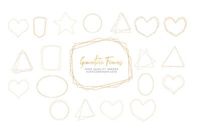 Gold Geometric Frame, Gold Polygonal Frames Clipart, geometric gold