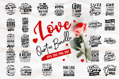 Love and Romantic Quotes SVG Bundle Lettering