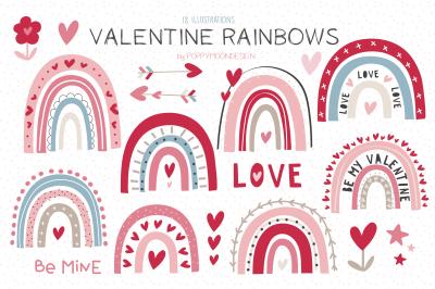 Valentine Rainbows clipart set