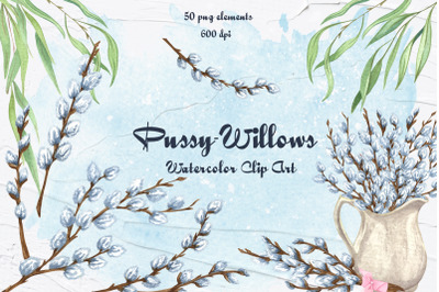 Pussy Willow Watercolor Clip Art