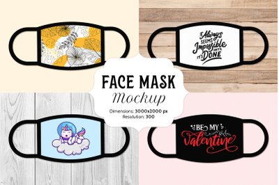 Face mask mockup with 16 bonus images