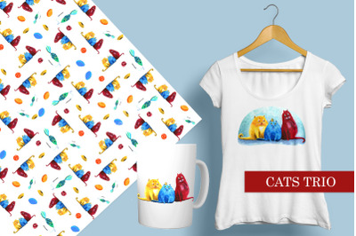 Colorful trio of cats. Funny and bright illustration + pattern