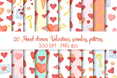 Hand drawn valentines seamless patterns png set