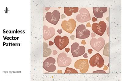 Conversation hearts seamless pattern