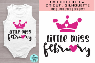 Little miss february svg, valentines day svg
