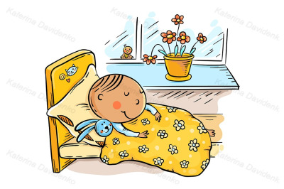 Kid sleeping in his bed at home