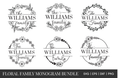 Floral Family monogram SVG Bundle