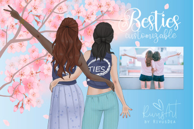 Valentines besties Best friends heart customizable clipart. Sisters BF