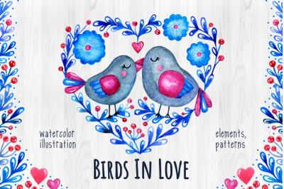 Birds In Love. Watercolor set.