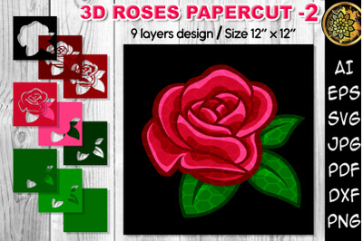 3D Valentine Rose Flowers Multi-layered Flowers Papercut - 2