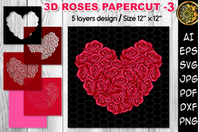 3D Valentine Rose Heart Multi-layered Flowers Papercut - 3