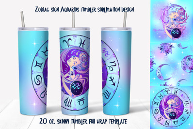 Design of zodiac sign Aquarius. Skinny tumbler wrap design.