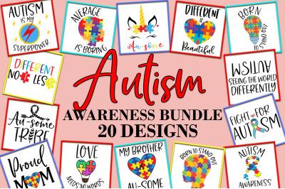 Autism Awareness Quotes Sayings SVG Design Bundle