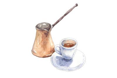 Coffee ristretto (espresso) with turkish cezve