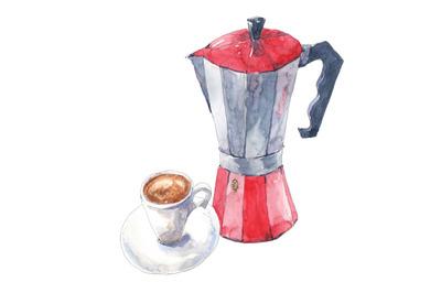 Coffee espresso with italian moka coffee maker