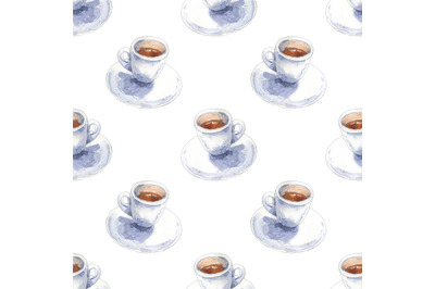 Coffee watercolor seamless pattern with cups of espresso