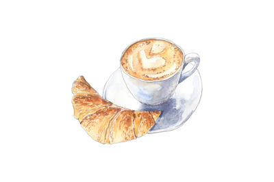 Coffee cappuccino with croissant