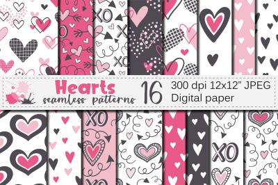 Red Pink Hearts Digital Paper / Valentine Seamless Patterns