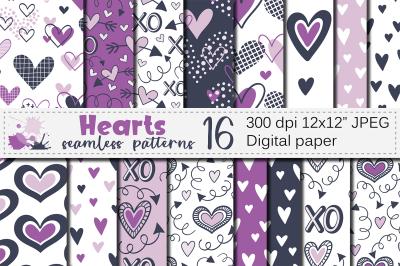 Purple Hearts Digital Paper / Valentine Seamless Patterns