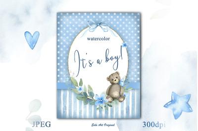 Baby boy Frame Baby shower teddy bear