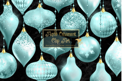 Aqua Christmas Ornaments Clipart