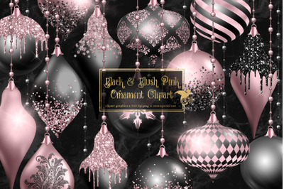 Black and Blush Ornament Clipart