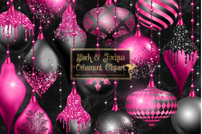 Black and Fuchsia Ornament Clipart