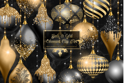 Black and Gold Christmas Ornaments Clipart