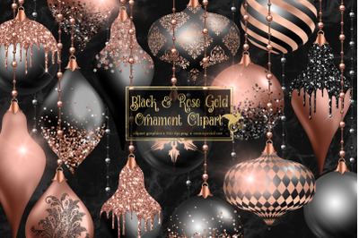 Black and Rose Gold Ornament Clipart