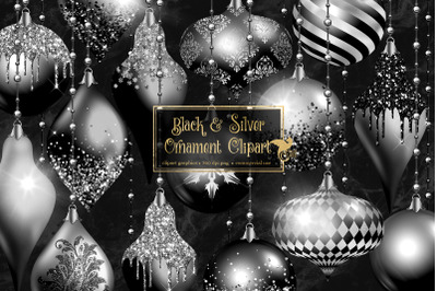 Black and Silver Christmas Ornaments Clipart