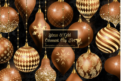 Bronze and Gold Christmas Ornaments Clipart