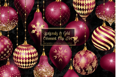 Burgundy and Gold Christmas Ornament Clipart