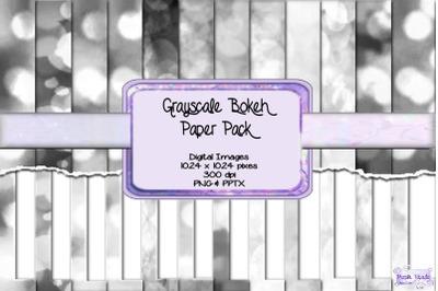 Grayscale Bokeh Paper Pack