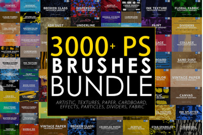 3000 Photoshop Stamp Brushes Bundle