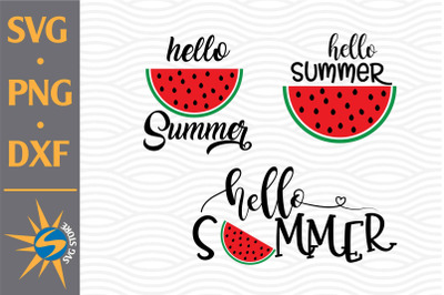 Hello Summer Watermelon SVG, PNG, DXF Digital Files Include