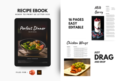 Perfect dinner ebook + print template