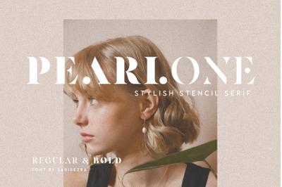Pearlone - Stylish Stencil Serif
