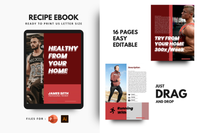 Fitness at your home ebook + print template