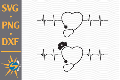 Stethoscope Heartbeat SVG, PNG, DXF Digital Files Include