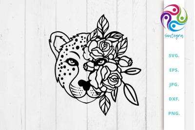 Cheetah Floral SVG, Cheetah Cut File